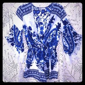 White blue boho Greek bell lace sleeve romper, s.M